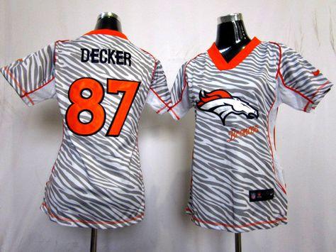 2012 womens nike nfl denver broncos 87 eric decker zebra fashion elite jerseys denver broncos jersey