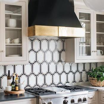 Black And White Geometric Kitchen Backsplash Tiles White Tile