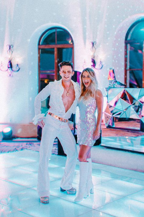 Our Wedding Welcome Party — Kelly Fiance Creative Fiance Fever! Our Wedding Welcome Pa Disco Theme Parties, Disco Party Decorations, Disco Birthday Party, 70s Party, Retro Party, Party Themes, Party Hats, Party Ideas, Look Disco