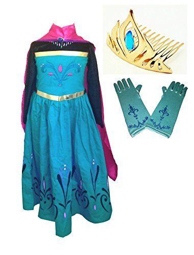 Tiara Crown 8 Years Gloves Elsa Coronation Dress Costume Cape