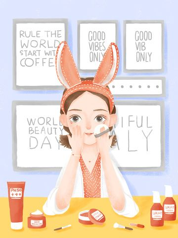 Cute Girl Indoor Makeup Beauty Skincare Psd Make Up Cosmetic Skin Care Products Illustration Image On Pngtree Free Download On Pngtree Beauty Skin Care Skin Care Products Design Beauty Makeup