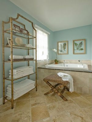 Blue-green bathroom wall color goes well with sand-colored ...