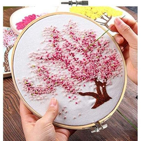 Embroidery Starter Kit with Pattern Pink Blooming Tree