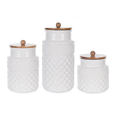 White Embossed Canisters With Wood Lids Set Of 3 White Kitchen Jars White Kitchen Canisters Coffee Canister