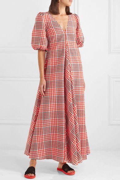 Red Checked Cotton Blend Seersucker Maxi Dress Ganni Maxi