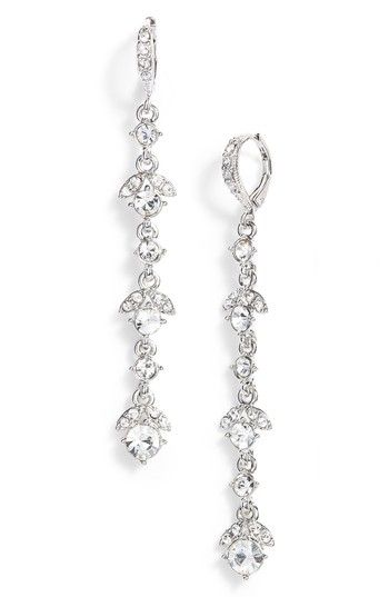 givenchy crystal linear drop earrings in silver crystal modesens