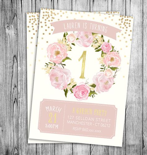 Garden Birthday Invitation First Girls Party Floral Pink Pastel Beige Off White Gold Polka Dots Girl Kids Invite Printable File