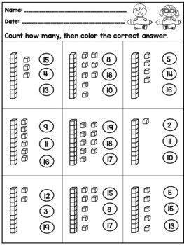 Place Value Kindergarten Worksheets Tens and Ones | Tens ...