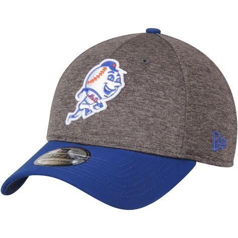 Men s Adult New York Mets New Era Heathered Gray Royal 39THIRTY Shadow Tech  Flex Hat fd5dafa1e24