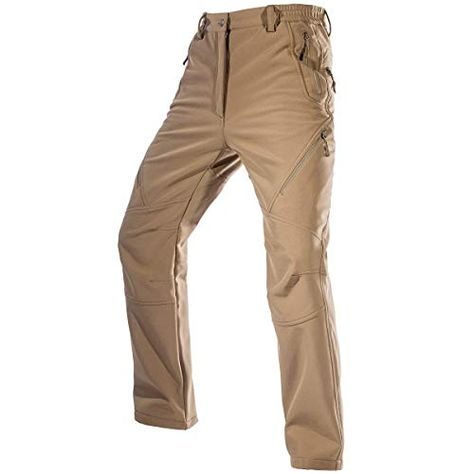 FREE SOLDIER Mens Fleece Lined Outdoor Cargo Hiking Pants Water Repellent Softshell Snow Ski Pants with Zipper Pockets