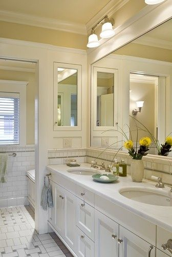 Like The Mirrored Medicine Cabinet On The Left Side Wall Large Framed Mirror Over Sinks Recessed Medicine Cabinet Recessed Cabinet Bathroom Tile Designs