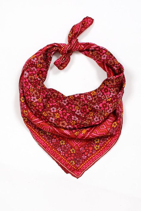 Geometric and floral print red magenta silk scarf. So fancy!