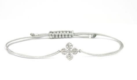wo zu kaufen heißes Produkt begrenzter Preis Damen Textil-Armband Kleeblatt Blume Zirkonia Blume 925 ...