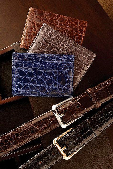 Alligator belt and alligator wallet | Handmade leather belt