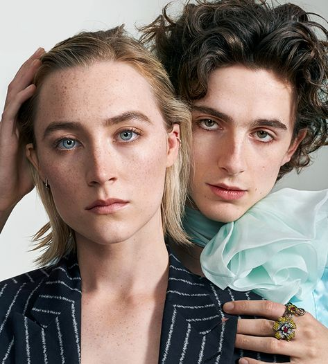 Saoirse Ronan and Timothée Chalamet portrait for Entertainment Weekly