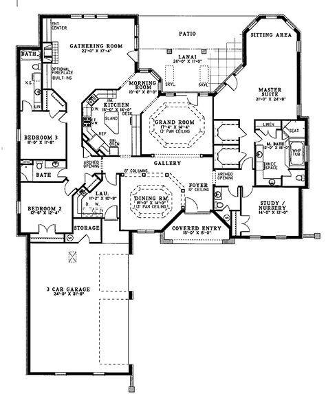 European Style House Plan 4 Beds 3 5 Baths 3167 Sq Ft Plan 17 3033 Floor Plans House Blueprints House Plans