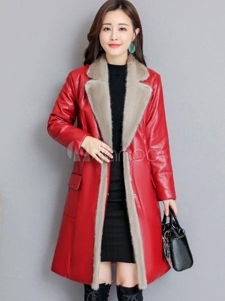 2dc6f599c Women Winter Coat Faux Fur Collar Pockets PU Leather Coat #Coat ...