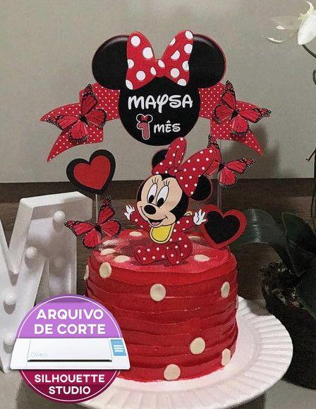 329 Topo De Bolo Minnie Baby Arquivo Silhouette Studio Com