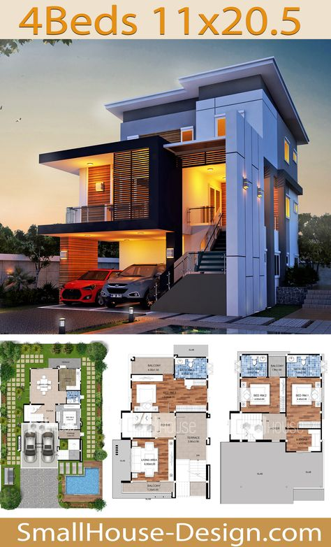 Modern House Plans 11x20.5 with 4 Bedrooms. FIRE HOME SERIES Modern Style Line F-134, 3-story house, 4 bedrooms, 4 bathrooms. Parking for 2 cars, Usable area 263 square meters, Land area 57 Square Wah, 11 meters wide 20.50 meters long.