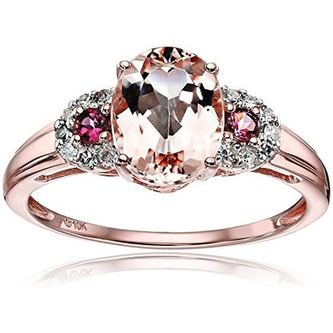Rosamaria G Frangini | High Pink Jewellery | 10k Rose Gold Morganite, Pink Tourmaline and Diamond 3-Stone Engagement Ring (1/10cttw, H-I Color, I1-I2 Clarity), Size 7