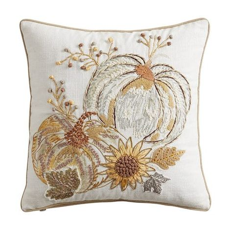 fall with a metallic pumpkin pillow