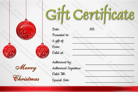 This Christmas balls gift certificate template can be easily - Hotel Gift Certificate Template