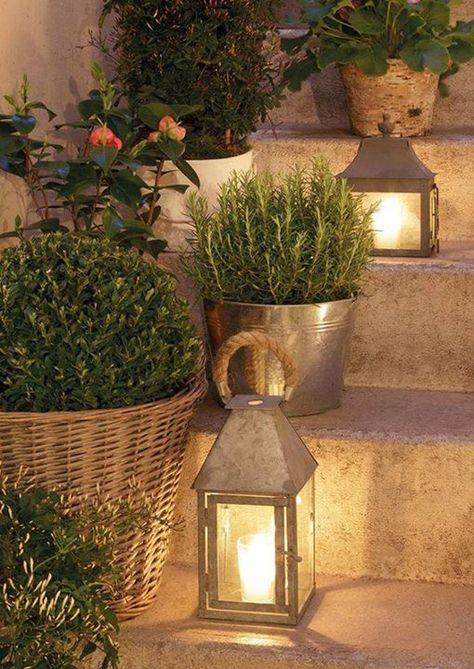 metal lanterns on the steps