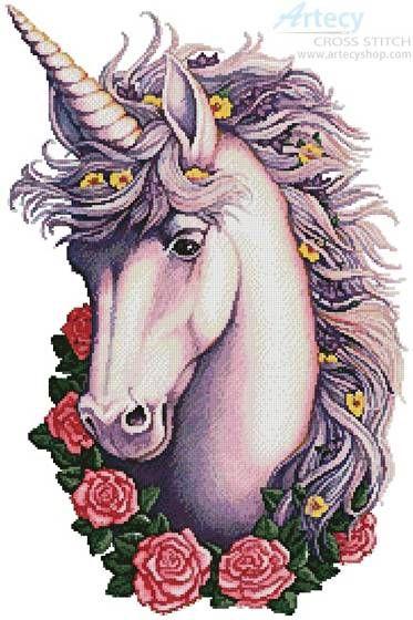 Unicorn Cameo - cross stitch pattern designed by Tereena Clarke. Category: Fantasy.