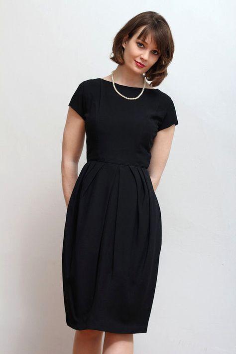 8d9b1880228 SALE! 1960s vintage black tulip cocktail dress   modern US size 4 on ...