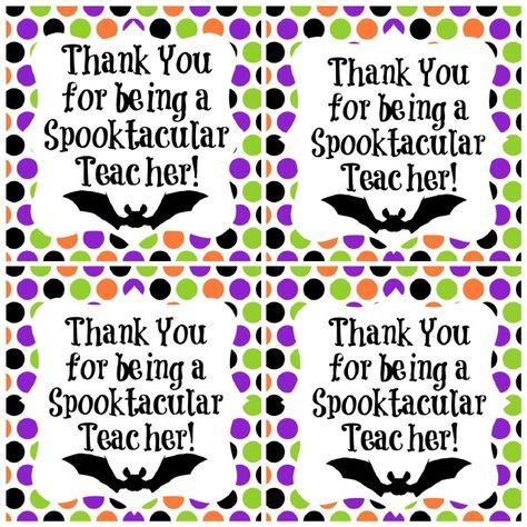 Halloween Teacher Gift Printable Thank You Tag Spooktacular Teacher Halloween Teacher Gifts, Teacher Gift Tags, Teacher Treats, Teacher Thank You, Halloween Tags, School Treats, School Gifts, Student Gifts, Holidays Halloween