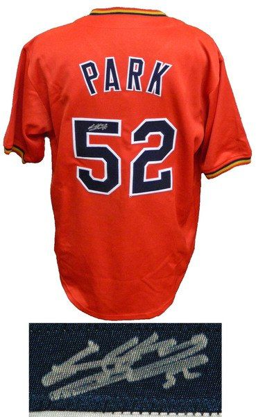 quality design 60eda d7a09 Byung Ho Park Signed Red Custom Baseball Jersey | Products ...