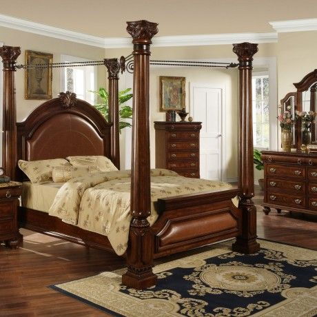 Mahagony Wood Bed Material Come With Classic Design Feature Brown