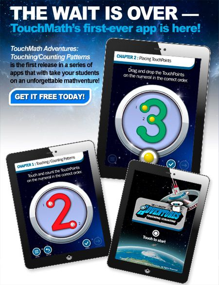The wait is over! Our first-ever app has arrived -- TouchMath Adventures: Touching/Counting Patterns! Download it today for FREE.