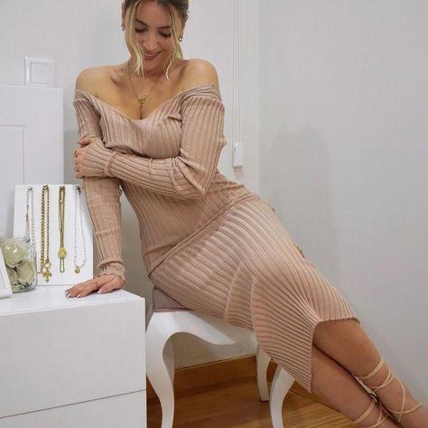Joyfunear V-neck Ribbed Knit Solid Sweater Dress