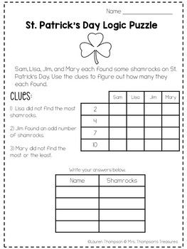 St Patrick S Day Logic Puzzles Free By Mrs Thompson S Treasures Logic Puzzles Math Logic Puzzles Higher Order Thinking Skills