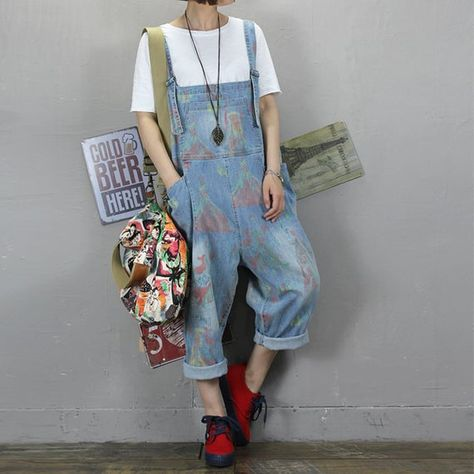 Womens Summer Loose Fitting Printed Floral Overalls Jumpsuit With Pockets, Womans Casual Overalls, C