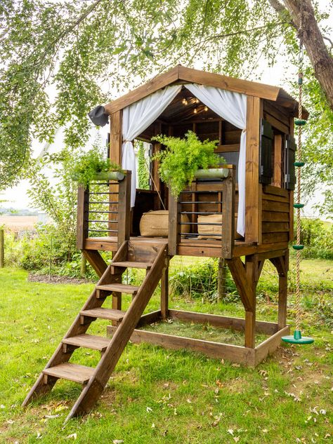 Kids Yard, Backyard For Kids, Backyard Projects, Backyard Playhouse, Backyard Playground, Kids Playhouse Plans, Backyard Fort, Outdoor Play Spaces, Tree House Designs