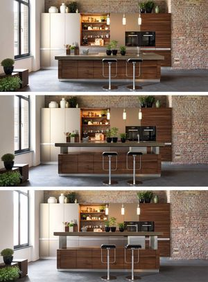 Kochinsel k7 aus naturholz mit von hand sortierten fronten condominium pinterest condominium solid wood and countertop