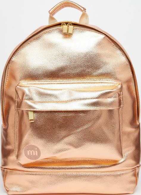 f8fa575795f2 Mi-Pac Metallic Rose Gold Backpack Front View