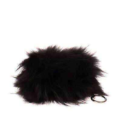Fox Fur Clutch Bag Pouch Black