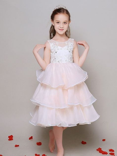 9ee4d7b12b1f Shop online a line short chiffon layers lace beaded pageant dress for  little girls for less. Free Shipping and Custom-made. Pro since 2009.