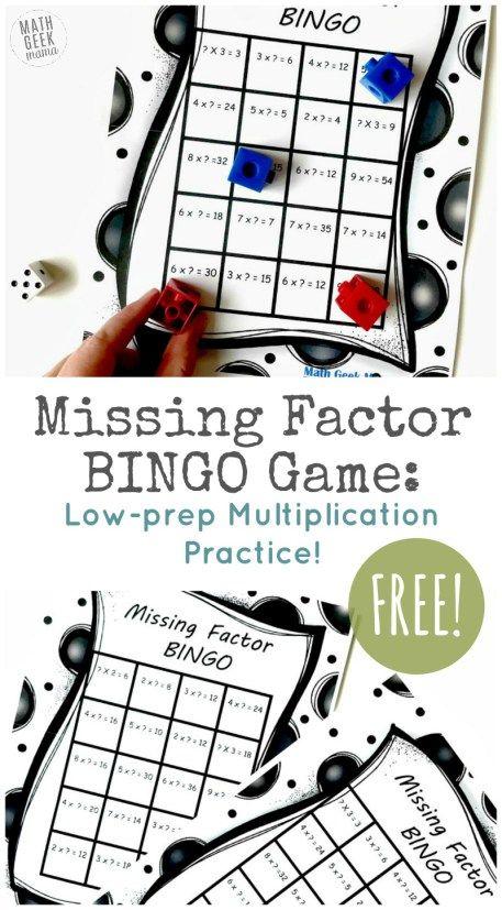 Free Missing Factor BINGO Game | Music classroom decor