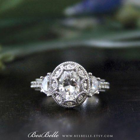 Art Deco bague de fiançailles-ovale coupe diamant Simulant-Vintage bague-2,25 ctw Art Deco bague de mariée bague-promesse bague-argent 925