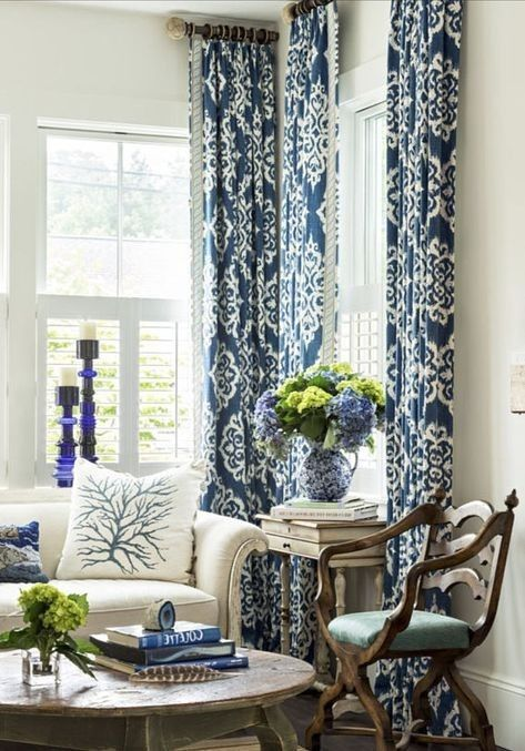 Pin By Lisa Remus On Blue Blue And White Curtains Curtains
