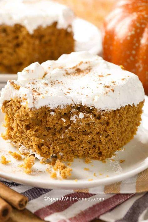 Pumpkin Dump Cake can be stored in a refrigerator even frozen. It is a great way to keep this tasty treat on hand for last minute guests. #spendwithpennies #easyrecipe #simplerecipe #dumpcake #withpumpkin #fallrecipe #cakerecipe #pumpkinrecipe #cakemix