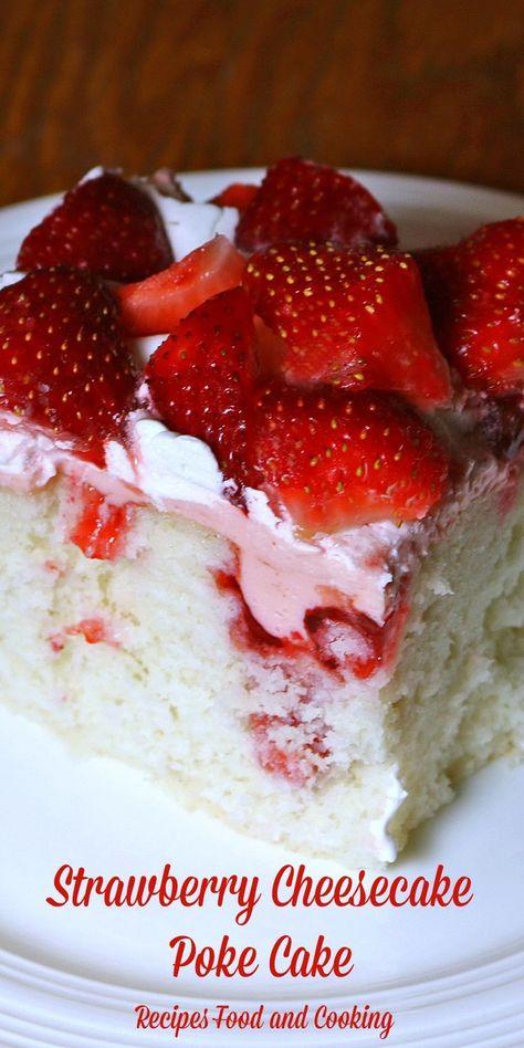 Strawberry cheesecake poke cake the best strawberry desserts Strawberry Cheesecake Poke Cake Recipe, Strawberry Poke Cakes, Poke Cake Recipes, Strawberry Desserts, Köstliche Desserts, Delicious Desserts, Cake With Strawberries, Jello Poke Cakes, Angel Food Cake Desserts