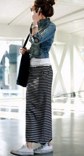 Styling a long striped skirt with a denim jacket and white tee LOVE the long skirt with converse!