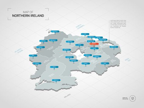 Isometric 3d Northern Ireland Map Stylized Vector Map Illustration