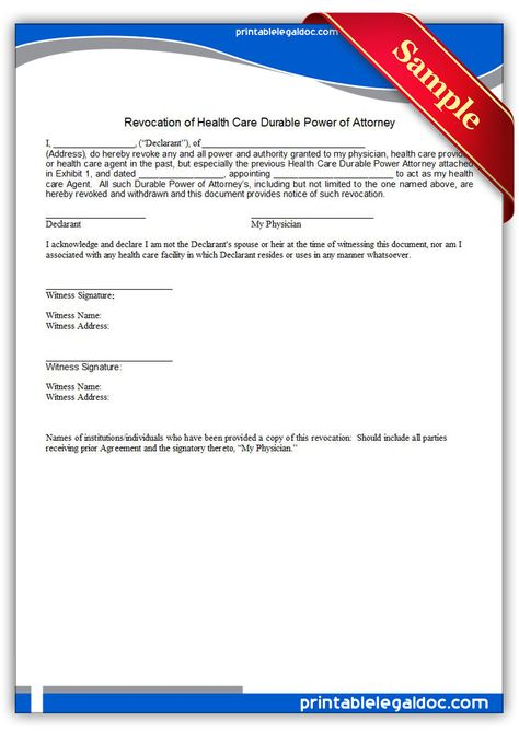 Free Printable Revocation Of Health Care Durable Power Of Attorney - durable power of attorney forms