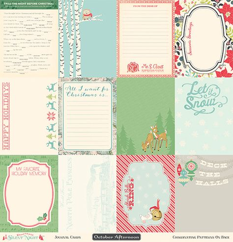 October Afternoon Silent Night Collection, Set of 12 Journaling Cards, Scrapbooking and Paper Crafting Supplies, Holiday theme